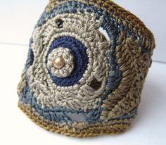 Moon Flower Ipomoea alba Freeform Crochet Cuff bracelet in Soft Cotton Botanical Collection by anadiazarte, via Flickr
