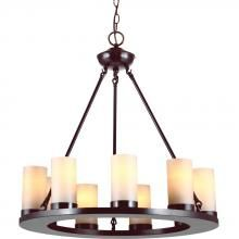 Sea Gull 31587-710 - Ellington Nine Light Round Chandelier in Burnt Sienna with Cafe Tint Candle Glass