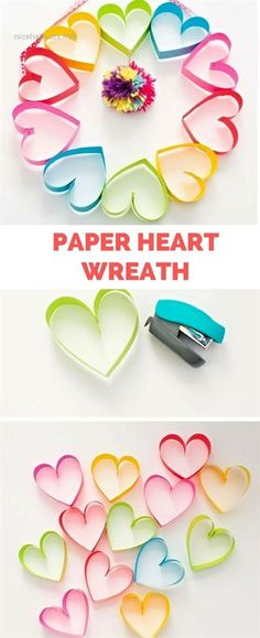 kids crafts for girls DIY Rainbow Paper Heart Pom Pom Wreath. Cute Valentines Day Craft for Kids Or Mothers Day. Easy Mother's Day Crafts, Valentine's Day Crafts For Kids, Valentine Crafts For Kids, Holiday Crafts, Fun Crafts, Arts And Crafts, Crafts Toddlers, Kids Diy, Quick Crafts