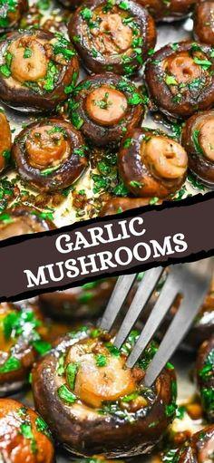 Best Vegetarian Recipes, Yummy Recipes, Spiralizer Recipes, Pasta Recipes, Garlic Mushrooms, Stuffed Mushrooms, Good Food, Yummy Food