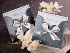 Blue Pocket Victorian Wedding Invitations - GA 1015 | ItsInvitation
