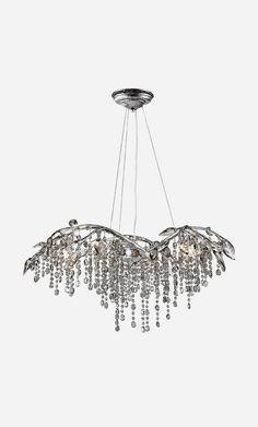 Hampton Crystal Chandelier in Mystic Silver