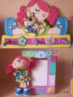 love the photo frame w/clay doll attached to the side. Foam Crafts, Diy And Crafts, Crafts For Kids, Arts And Crafts, Craft Foam, 3d Craft, Do It Yourself Baby, Merian, Foam Sheets