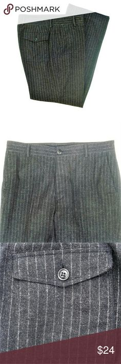Men's J.Crew button fly wool pants J.Crew chalk pinstripe button fly pants gray on grey. They have a very nice vintage appeal with classic structuring. Almost like vintage Workwear. Trouser Pockets. Back flap covered patch Pockets with button closure closure. 5 button fly closer. Tag reads 35 / 34. Waist measures 37. Rise - 12. Inseam - 34. No flaws or fading J.Crew Pants