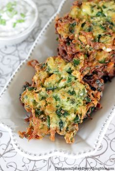 SPINACH, FETA & POTATO LATKES (SPANOLATKES)  Greek Potato Latkes w/ Tzatziki