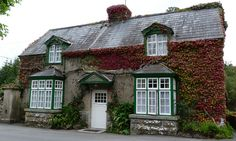 Playfair's House in The Quiet Man-- (The Gatehouse at Ashford Castle), Cong, Ireland, beautiful red Virginia Creeper on the house Cong Ireland, British Holidays, The Quiet Man, Ashford Castle, Virginia Creeper, Visit Britain, British Travel, Tourist Map, Irish Cottage