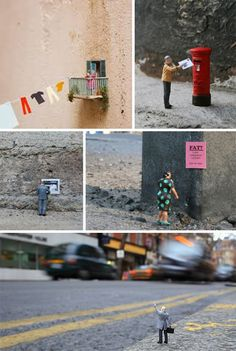 Slinkachu is a UK-based artist who creates tiny scenes on city streets that are both humorous and compelling. He photographs each scene and then leaves it to be discovered. http://restreet.altervista.org/la-street-art-in-miniatura-di-slinkachu/