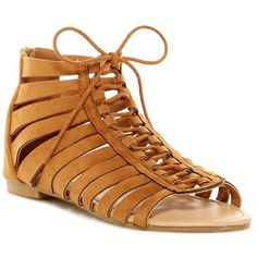 ANNA Leasa Gladiator Sandal ($20) ❤ liked on Polyvore featuring shoes, sandals, tan, lace-up sandals, lace-up gladiator sandals, cage sandals, caged lace up sandals and roman sandals