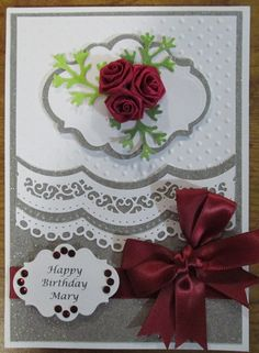 Spellbinders Scalloped Borders One white and gray Birthday Card