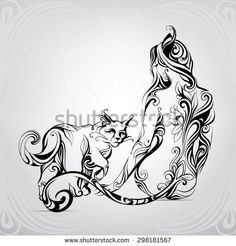 Stock Images similar to ID 241484056 - vector silhouette of a woman cat