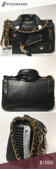 Moschino Leather Jacket Shoulder Bag Black Brand new with cards and dustbag. Black leather with Gold hardware. Collector's item. Made in Italy. Moschino Bags Shoulder Bags