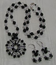 Crystal  Necklace Pendant with matching Earrings.