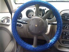A Bunch of different examples of Crocheted Steering wheel covers...