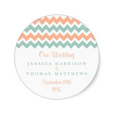 The Modern Chevron Wedding Collection Peach and Mint Classic Round Sticker