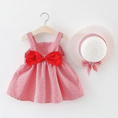 Plaid Bow Decor Slip Dress and a Straw Hat – Cutejanie clothing Adorable in the details. Breezy and comfy! Let every girl become a princess !Discover more fashion of baby clothing at Polka Dot Summer Dresses, Baby Summer Dresses, Summer Baby, Summer Girls, Baby Dresses, Toddler Dress, Toddler Girl, Baby Girls, Frocks For Girls