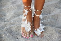 Organza butterfly beach wedding barefoot sandals bangle by fulyas, $41.50