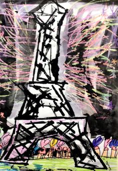 Eiffel Tower is a printing lesson with cardboard squares then crayon and black paint.
