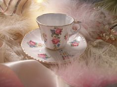 sweet vintage demitasse cup and saucer set shabby by polkadotrose