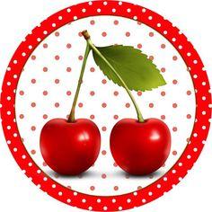 Cereja Vermelha - Kit Completo com molduras para convites, rótulos para…