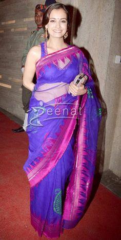 Dia Mirza in a Beautiful Saree at a 2013 Diwali Party