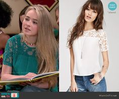 Maya's green lace sleeve top on Girl Meets World.  Outfit Details: http://wornontv.net/51146/ #GirlMeetsWorld (custom dyed)