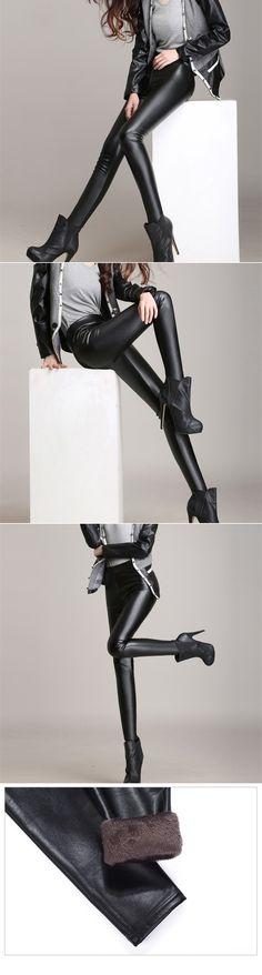 a96ae342300 Faux Leather Leggings Fashion Women Pants Jeggings
