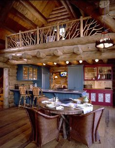 log cabin kitchen: love the color pop, sometimes hard to live in a brown box