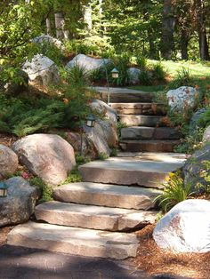 Solar path lights are ideal for illuminating walkways far from exterior outlets, and can provide an enchanting glow along winding garden paths. (These steps are perfect! Landscape Design, Garden Design, Landscape Stairs, Hillside Landscaping, Landscaping Ideas, Hillside Garden, Outdoor Landscaping, Outdoor Steps, Garden Stairs