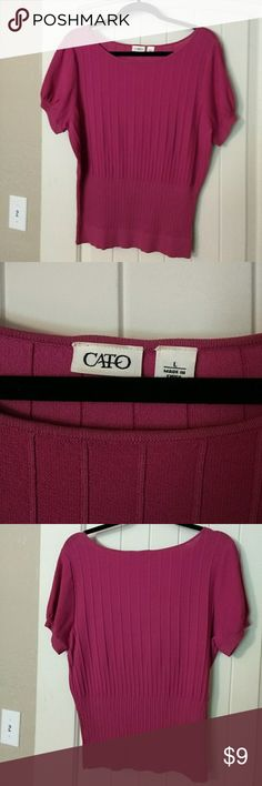 Cato hot pink shirt Hot pink top with short sleeves. Good condition. Cato Tops Blouses