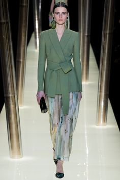 Armani Privé | Spring 2015 Couture | 16 Green belted blazer and multicolour printed trousers