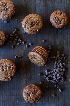 chocolate banana chocolate chip muffins w/ walnuts - half batch = 3 dozen w/ big scoop, substitute buttermilk for sour cream, add vanilla w/ egg, add 1/2 tsp espresso powder to melted chocolate, substitute pecans for walnuts and add extra chocolate chips to dry ingredients