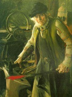 """Anders Zorn """"Mästersmed"""" (1907). Olja på duk 120 x 89 cm. Mästarsmed är ett porträtt av Sars Per, en annan legendarisk Morahantverkare."""
