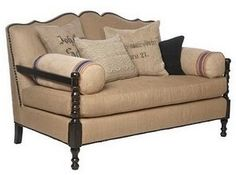 Sofa with burlap upholstery.