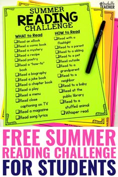 Avoid the summer slide with a fun, engaging reading challenge to send home this summer. This simple one page printable is free and low prep. Students and their families can read together whether they Summer Reading Program, Summer Reading Lists, Free Reading, Kindergarten Reading, Teaching Reading, Preschool Kindergarten, Teacher Summer, Summer School, Planning School