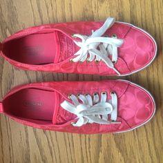 Coach signature suzzy sneakers Coach signature suzzy sneakers, coral, size 7.5 Coach Shoes Sneakers