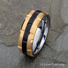 Mens Tungsten Wedding Band, 8mm, Yellow Tungsten Ring, Brushed Wedding Band, Mens Wedding Ring, Two Tone Wedding Ring, Mens Ring, Mens Band by LALaserEngraving on Etsy