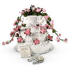 Samantha's Bridesmaid Accessories  This beautiful wedding cake comes with a traditional bride and groom topper. Special slots in the top layer hide six tiny charms on ribbons. Includes a souvenir wedding invitation and a fancy mirror and brush for last-minute primping Z