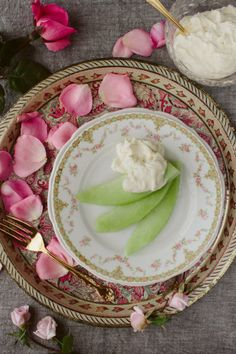 Honeydew with Rosewater and Honey Cream