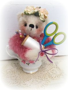 Mohair Artist Teddy Bear Pin Cushion by Michelle by tbmum on Etsy