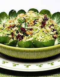 Brussels Sprout Slaw with Cranberries and Walnuts|Craving Something Healthy