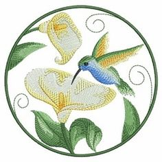Watercolor Hummingbird and Flowers 6 - 3 Sizes!   What's New   Machine Embroidery Designs   SWAKembroidery.com Ace Points Embroidery