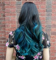 Black, blue  teal ombre hair, only need to let my hair grow longer