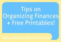 Organized Finances +Printables