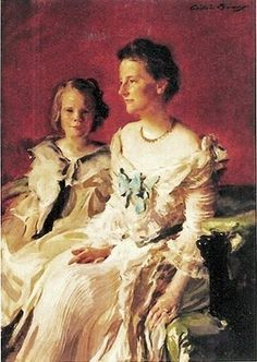 'Mrs Theodore Roosevelt and daughter Ethel', by Cecilia Beaux.