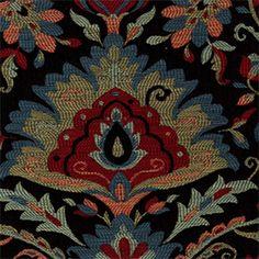 Harrah 150 Mardi Black Woven Floral Upholstery Fabric - 35603 - www.buyfabrics.com