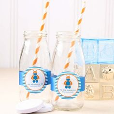 Personalized Baby Shower Themed Milk Jars and Straws by Beau-coup