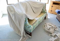 """How to reupholster a couch """"no sew"""" - Four Generations One Roof"""