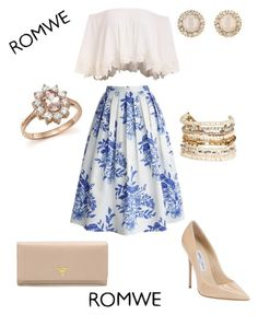 """""""Untitled #29"""" by skyeham ❤ liked on Polyvore featuring Prada, Chicwish, Jimmy Choo, Panacea, Kate Spade and Bloomingdale's"""