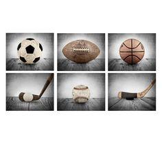 FLASH SALE til MIDNIGHT Vintage Sports Color on Grey Background Set of 6  , Wall Art,  Kids Room decor, Green Trucks prints,