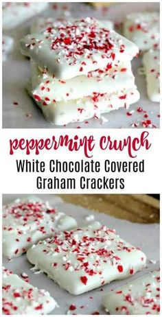 3 White Chocolate No-Bake Festive Candy Recipes The Baking ChocolaTess BaknChocolaTess Quick Desserts! 3 White Chocolate No-Bake Festive Candy Recipes … Vanilla Fudge, Köstliche Desserts, Delicious Desserts, White Desserts, Cheesecake Desserts, Raspberry Cheesecake, Chocolate Covered Graham Crackers, Chocolate Covered Treats, Dessert Aux Fruits